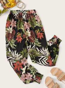Plus Floral Print Elastic Waist Shirred Pants