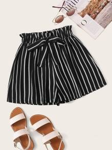 Plus Wide Leg Striped Knot Shorts