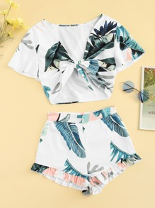 Plus Knot Tropical Print Top With Ruffle Hem Shorts