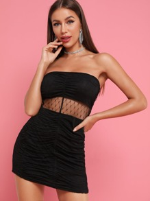 Mesh Panel Ruched Bodycon Tube Dress