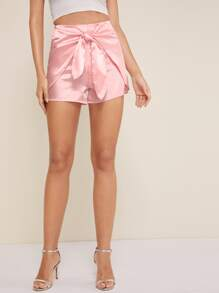 Satin Knot Front Solid Shorts