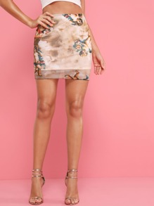 Figure Print Pencil Skirt