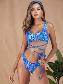Scale Print Criss Cross Bikini Set