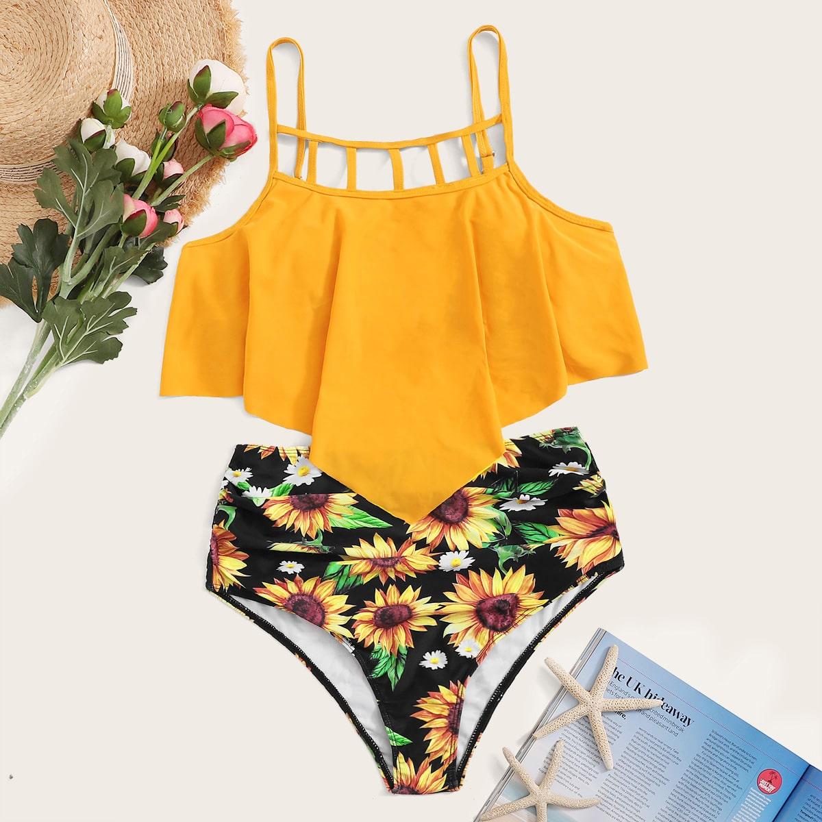 SHEIN coupon: Ladder Cut-out Hanky Hem Bikini Swimsuit
