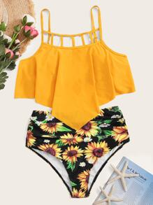 Ladder Cut-out Hanky Hem Bikini Set