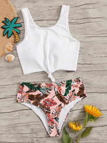 Knot Front Top With Tropical Bikini Set