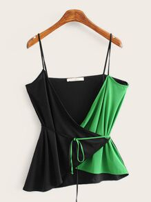 Two Tone Belted Cami Top