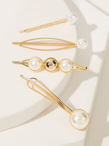 Faux Pearl Decor Hairpin 4pcs