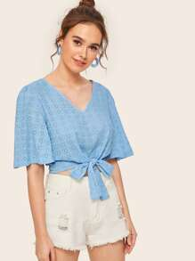 V-neck Eyelet Embroidery Knot Hem Blouse