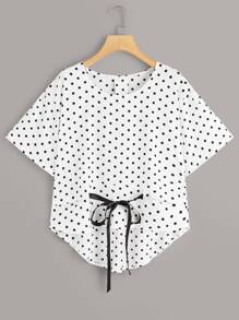 Polka Dot Bow Front High Low Blouse