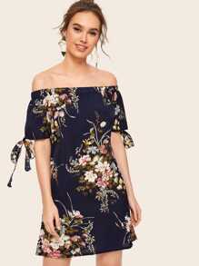 Floral Print Knot Cuff Off Shoulder Dress