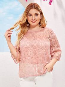 Plus Solid Round Neck Sheer Lace Blouse