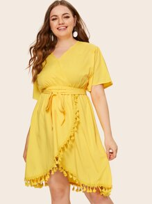 Plus Surplice Front Contrast Fringe Belted Dress