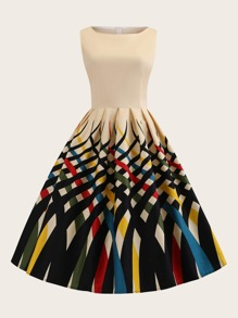 Plus Colorful Striped Print Fit And Flare Dress