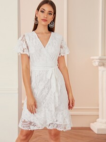 Surplice Front Belted Lace Dress