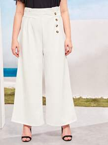 Plus Button Side Paper Bag Wide Leg Pants