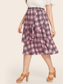 Plus Plaid Print Ruffle Trim Skirt
