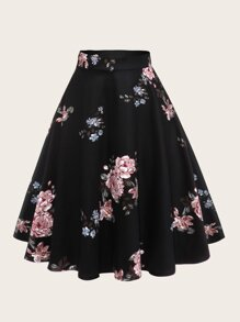 Plus Floral Print Flare Skirt