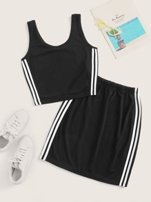 Plus Side Striped Tank Top With Skirt