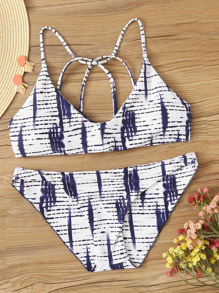 Brush Print Criss Cross Bikini Set