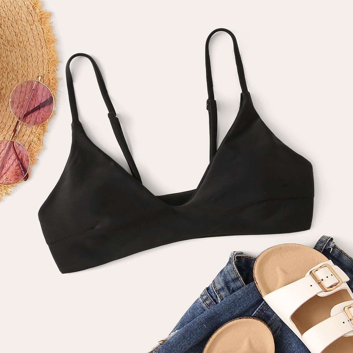 SHEIN coupon: Solid Swimming Top