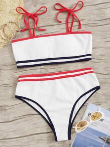 Striped Hem Self Tie Bikini Set