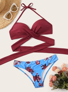 Wrap Halter Top With Floral Bikini Set