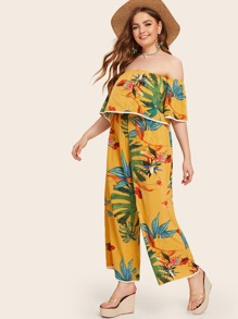 Plus Tropical Print Off Shoulder Top With Wide Leg Pants