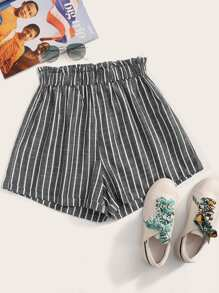 Paperbag Waist Striped Shorts