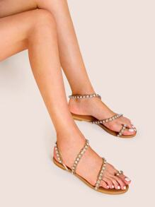 Rhinestone Decor Toe Ring Flat Sandals