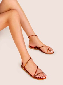 Snakeskin Open Toe Sandals