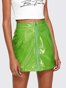 PU Leather Zip Up A-line Skirt
