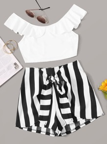 Ruffle Top & Tie Front Striped Shorts