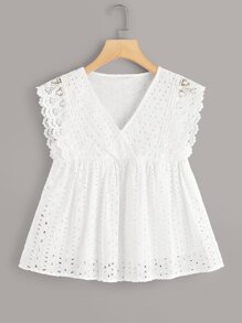 V-neck Eyelet Embroidery Peplum Top