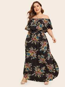 Plus Floral Print Off Shoulder Split Drawstring Dress