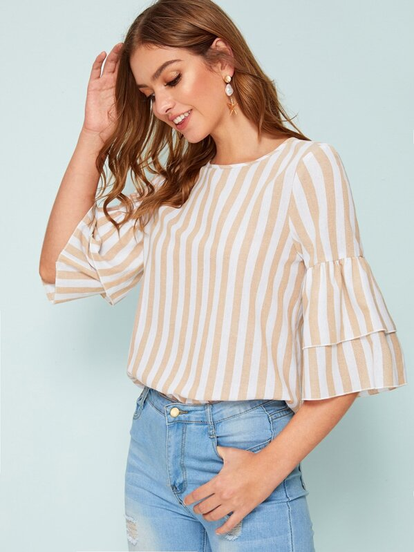 7963ad15c3453a Layered Ruffle Sleeve Keyhole Back Striped Blouse | SHEIN IN