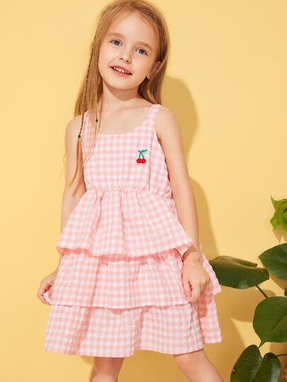 Toddler Girls Tiered Layer Gingham Dress
