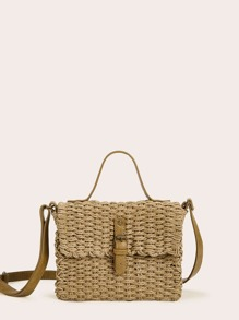 Buckle Strap Woven Satchel Bag