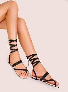 Toe Post Strappy Tie Leg Sandals
