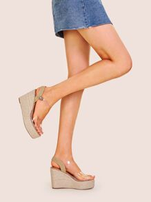 Clear Strap Slingback Espadrille Wedges