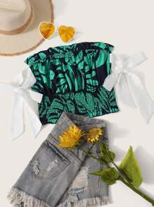 Palm Tree Print Knot Frill Shirred Tube Top