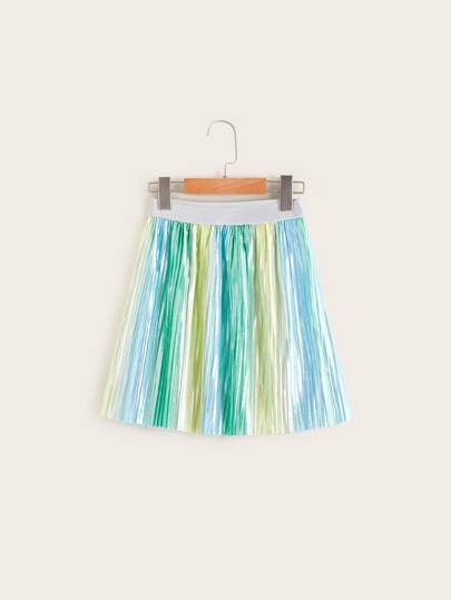 e06f4c8cb7ce5b Girls Contrast Waist Metallic Glitter Pleated Skirt
