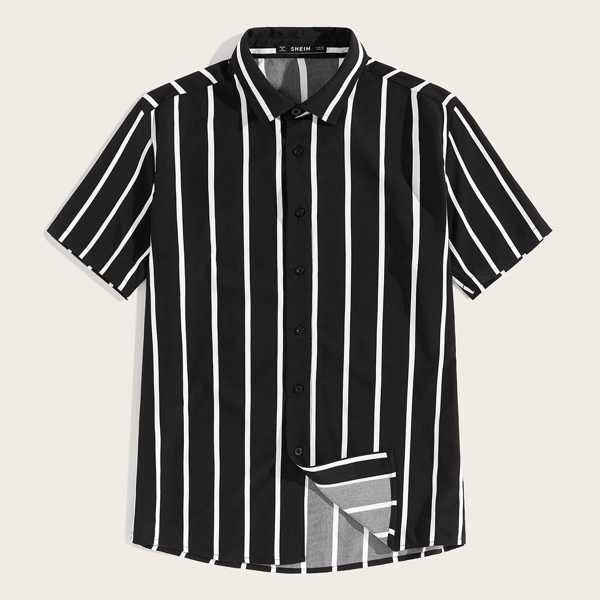 Мужская Рубашка В Полоску С Пуговицами SheIn smshirt07190604020