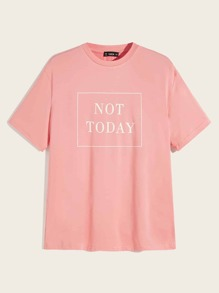 Men Slogan Print Top