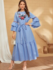 Floral Embroidered Layered Sleeve Belted Dress