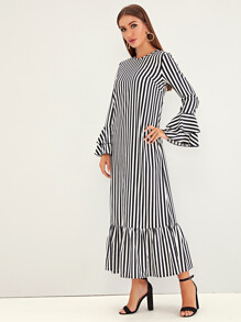 Layered Bell Sleeve Ruffle Hem Striped Dress
