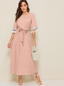 Tassel Trim Sequin Detail Cuff Belted Dress