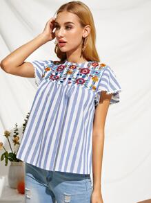 Embroidery Floral Lace Cuff Striped Top