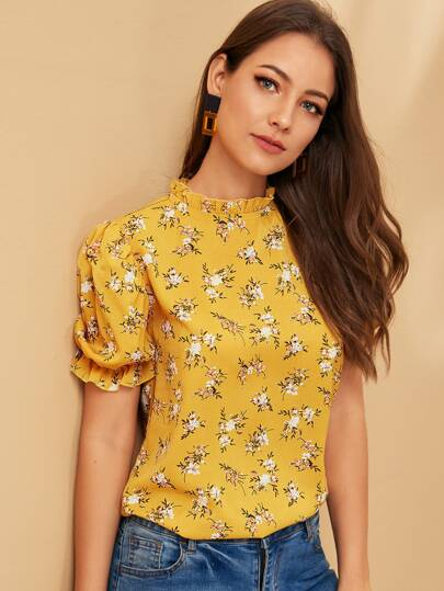 b9dbf1012c70 Frill Trim Stand Neck Floral Print Top