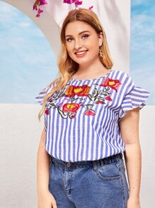 Plus Floral Embroidery Front Ruffle Cuff Striped Top
